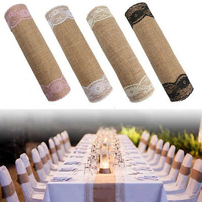 Long 30x275cm Linen Table Runner Chair Sash Christmas Lace Party Wedding Decor