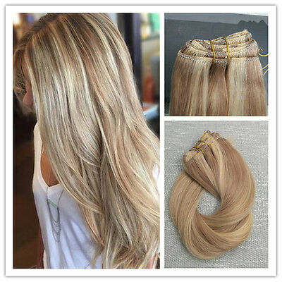 6A Balayage Blonde Highlighted Remy Ombre Thick Clip In Human Hair Extensions