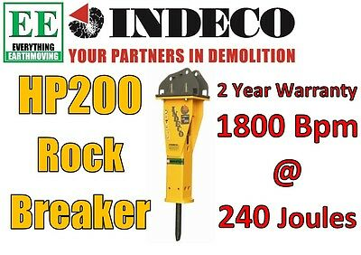 Rock Breaker Indeco HP200 for 2 to 4 tonne Mini Excavators & Skid Steers