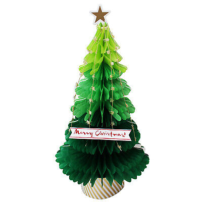 Green Christmas Tree Honeycomb Pop Up Greeting Card
