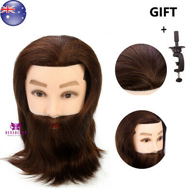 Barber 100% Real Hair Beard Hairdressing Training Male Head Mannequin + Clamp