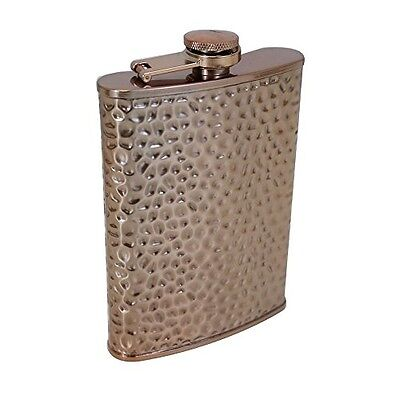 TMD Holdings Copper Hammered Hip Flask, Bronze, 8 oz