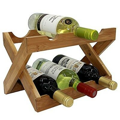 Autree Natural Bamboo Foldable Countertop Wine Rack 6-bottles No Assembly