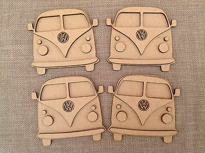 Paint Your Own Camper Van Coasters VW Set Of 4 3D Effect DIY Craft Project