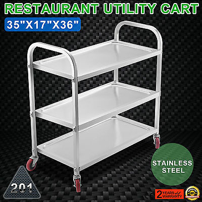 Kitchen Stainless Steel Serving Cart Food PREP 3 Shelf Rolling WIDELY TRUSTED