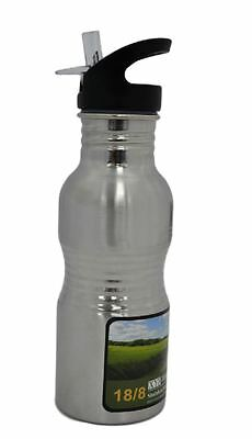 SHINE 650ML Flip Straw STAINLESS STEEL Water Bottle Sports Gym Cycling