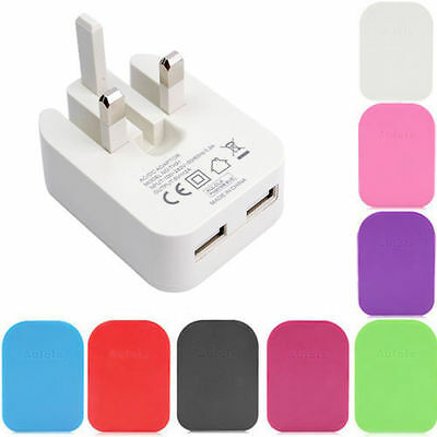 2A Dual USB UK Mains Wall 3 Pin Plug Charger For iPhone 5 5S 6 Samsung HTC Phone