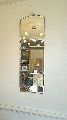 Vintage 1930's Art Deco Tall Beveled Mirror Antique London SE14