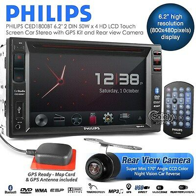 "PHILIPS CED1800BT Double DIN 6.2"" HD Screen GPS Sat Nav Car DVD Stereo Player"