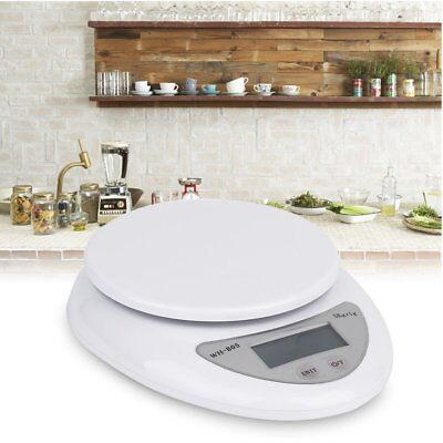 LCD Digital Kitchen Scale Compact Diet Food 5KG x 1g w/ Bowl Electronic Weight