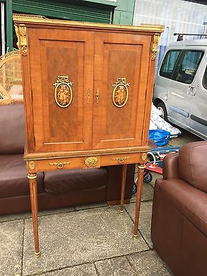Stunning French Regency Style Inlaid Drinks Cabinet Reed Legs Brass Gold Cherubs