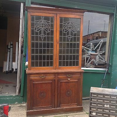 Art Nouveau Mahogany Bookcase Cabinet Stained Glass Green