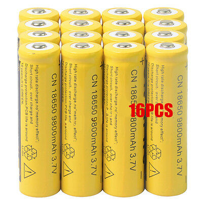 16pcs 18650 3.7V 9800mAh Yellow Li-ion Rechargeable Battery Cell For Torch USA
