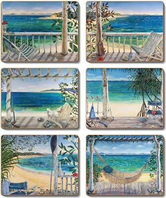 Country Inspired Kitchen BEACH BALCONIES Cinnamon Cork backed Placemats or Co...