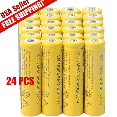 24pcs 18650 3.7V 9800mAh Yellow Li-ion Rechargeable Battery Cell For Torch USA