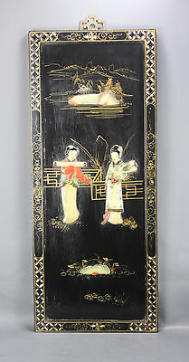 Chinese Inlaid Carved Wall Panel