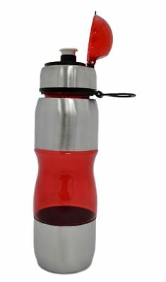 ONE TOUCH 700ML Stainless Steel RED Drinks Sports GYM Water Bottle