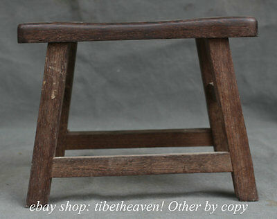 "11.2""Ancient Chinese Wood Dynasty Carving Furniture Stool Footstool Chair Bench"