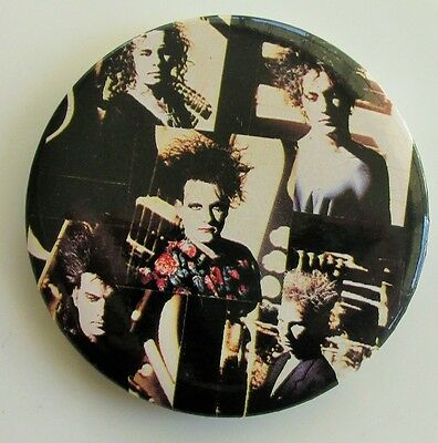 THE CURE GROUP COLLAGE LARGE VINTAGE METAL PIN BADGE FROM THE 1980's / 90's