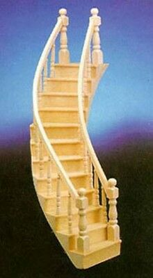 Dollhouse Miniature 1:12 Scale Assembled Right Curved Staircase 70222 Nib