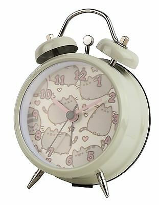 NEW Official Pusheen Cat Child's Mini Twinbell Analogue Metal Hand Alarm Clock