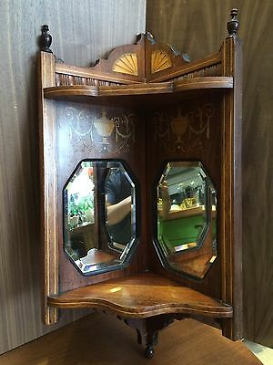 Antique Antique Hanging Corner Cabinet Inlaid Marquetry Decorated Wooden