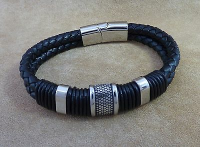 New Men's Chunky Black Leather and Stainless Steel Wristband Jewellery 8.5""