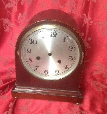 Nice Inlaid Edwardian Mantel Clock Case Good Domed Glass Bezel Clean Dial