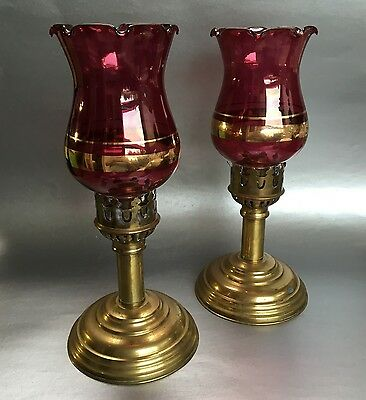 "Pair of 11"" Antique Victorian Cranberry Glass and Brass Candleholders Hurricane"