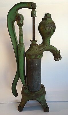 Antique Brockville Ontario Green  Cast Iron Cylinder Hand Water Pump