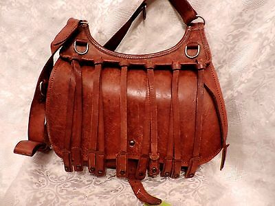 Superbe Sac Besace Cuir Ancien Cartouches Metier  / Vintage Leather Bag