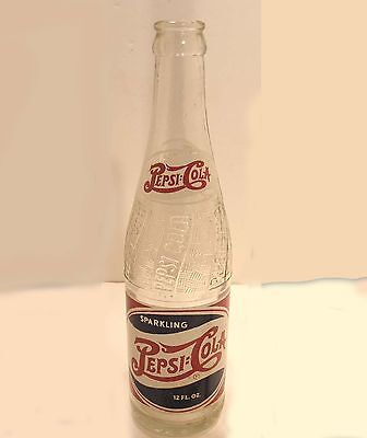 Ca 1948 Vintage Pepsi Cola 12 Oz Wave Bottle Double Dot Macon Georgia