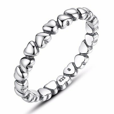 925 Sterling Silver Loveheart Stacking Band Ring