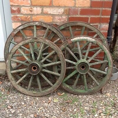 Set Of Four Old Wooden Cart Wheels