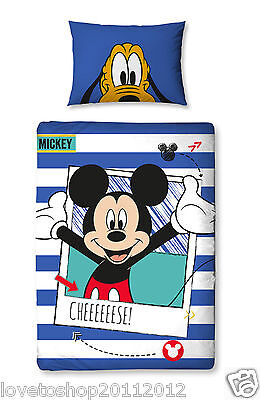 Disney Mickey Mouse 'Polaroid' Junior Cot Duvet CoverBed Set Character World 829