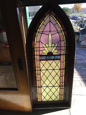 Sg 910 Antique Gothic Arch Stainglass Window With Frame