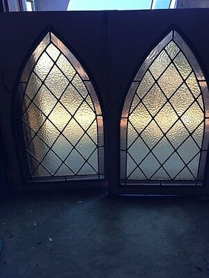 Sg 928 Two Available Price Separate Antique Gothic Stained-Glass Panels