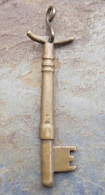 Antique Bronze Key with Broken  Bow