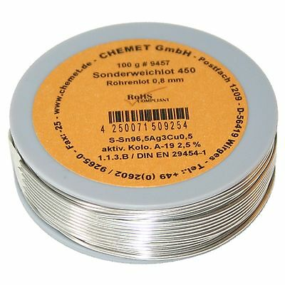 Soldering wire Sn96.5Ag3Cu0.5 0.8mm 100 g with flux Chemet
