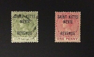 1885 STAMPS FROM ST. KITTS NEVIS 1d Red & 1/- Green
