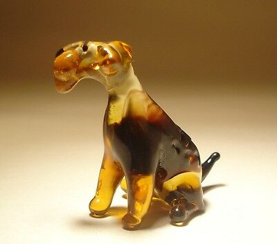 "Blown Glass ""Murano"" Art Figurine Dog AIREDALE Terrier Sitting"