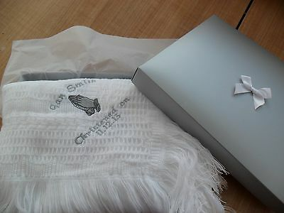 babys shawl plain or personalised embroidered hands in prayer design christening