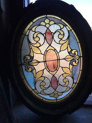 Sg 927 Antique Stainglass Oval Window With Frame
