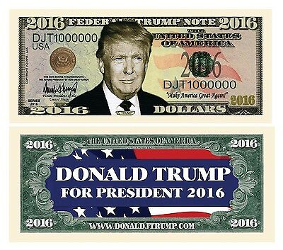 (10) Donald Trump President Money 2016 Fake Million Bills  Free Shipping