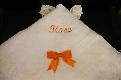 babys Plain or embroidered christening/birth shawl  ABC blocks design