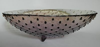 Stunning Unusual Large Knobbled Amethyst Purple Art Glass Bowl with Feet