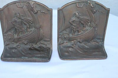 Great Antique Pair of Cast Iron Bookends Book Ends, Viking, 19th Century