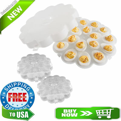 Set of 2 Deviled Egg Trays with Snap on Lids Travel Display Carrier Food Eggs