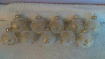 Christmas ornaments set of 10 white frosted glass gold snowflakes