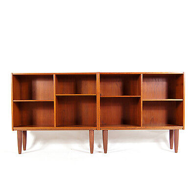 1 of 2 Retro Vintage Danish Teak Bookcase Book Shelves Wall Cabinet 50s 60s 70s